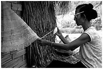Woman sewing a net, between Lai Chau and Tam Duong. Northwest Vietnam ( black and white)