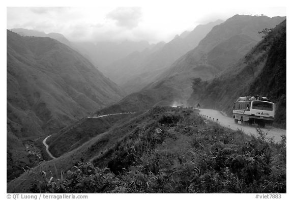 Steep road ascends the Tram Ton Pass near Sapa. Northwest Vietnam (black and white)