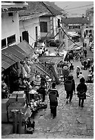 Black Hmong people in the steep streets of Sapa. Sapa, Vietnam ( black and white)
