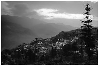 Sapa at sunset. Sapa, Vietnam (black and white)