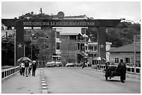 The Vietnamese side of the border crossing at Lao Cai. Vietnam (black and white)