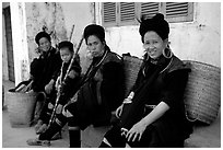 Black Hmong Women. Sapa, Vietnam ( black and white)