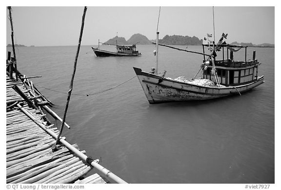 Fishing boats in the China sea. Hong Chong Peninsula, Vietnam (black and white)