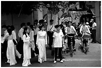 Uniformed school children. Ho Chi Minh City, Vietnam (black and white)
