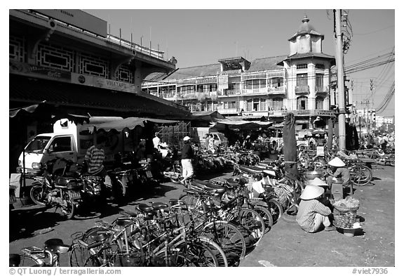Bicycles parked near the Bin Tay market, District 6. Cholon, Ho Chi Minh City, Vietnam (black and white)
