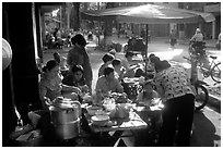 Street restaurant. Ho Chi Minh City, Vietnam ( black and white)