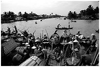 Phung Hiep flaoting market. Can Tho, Vietnam ( black and white)