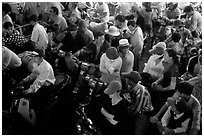 Aboard a ferry crossing an arm of the Mekong River. Mekong Delta, Vietnam (black and white)