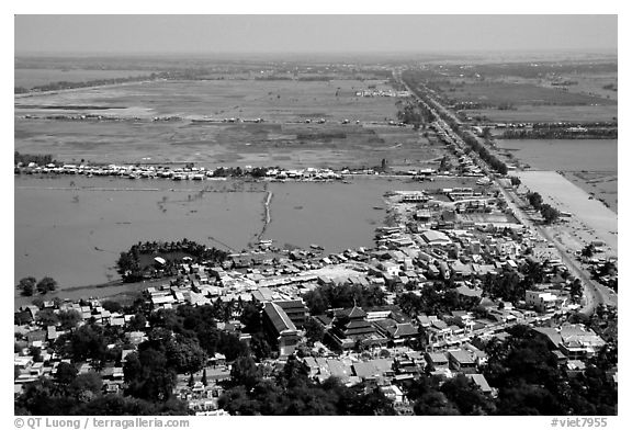Chau Doc and the plain  seen from the Sam Mountain. Chau Doc, Vietnam (black and white)