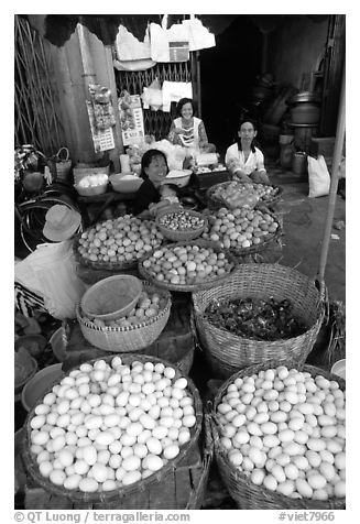 A variety of eggs for sale, district 6. Cholon, Ho Chi Minh City, Vietnam (black and white)