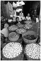 A variety of eggs for sale, District 6. Cholon, Ho Chi Minh City, Vietnam ( black and white)
