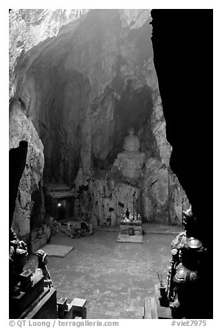 Troglodyte sanctuary in the Marble Mountains. Da Nang, Vietnam (black and white)