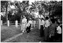Procession at a countryside funeral. Ben Tre, Vietnam ( black and white)