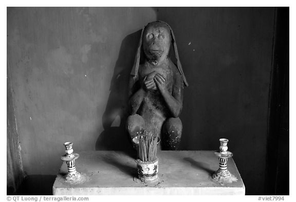 Monkey statue in the Japanese Bridge, Hoi An. Hoi An, Vietnam (black and white)