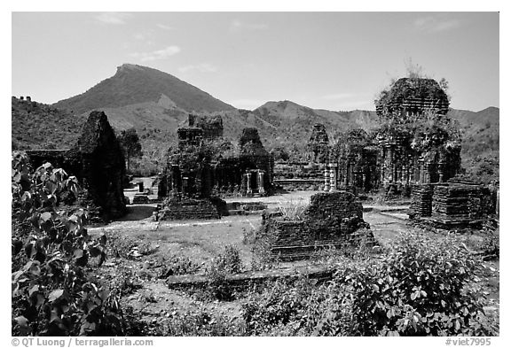 Archeological Cham site. My Son, Vietnam (black and white)