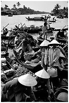 Phung Hiep floating market. Can Tho, Vietnam (black and white)