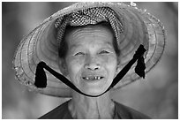 Villager with conical hat, Ben Tre. Vietnam (black and white)