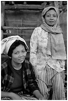 Muslem women from Cham minority village, near Chau Doc. Vietnam (black and white)