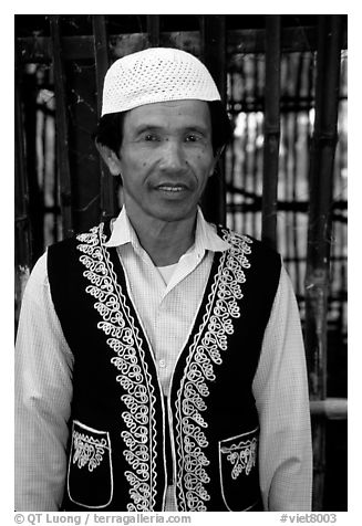 Muslem man from Cham minority village, near Chau Doc. Vietnam (black and white)