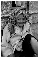 Elderly woman. Chau Doc, Vietnam (black and white)