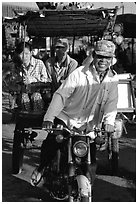 Xe loi driver and passengers. Chau Doc, Vietnam (black and white)