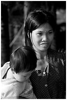 Young mother and child, near Ben Tre. Vietnam ( black and white)