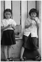 Uniformed junior school girls, Ho Chi Minh city. Vietnam (black and white)