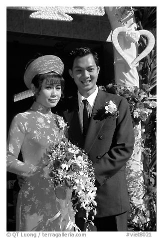 Just married couple, Ho Chi Minh city. Vietnam (black and white)