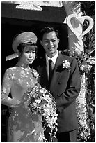 Just married couple, Ho Chi Minh city. Vietnam ( black and white)