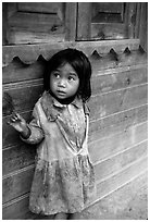 Girl of minority village, near Dalat. Vietnam ( black and white)
