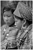Young Flower Hmong women, Bac Ha. Vietnam (black and white)