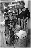 Flower Hmong mother with daughters. Bac Ha, Vietnam (black and white)