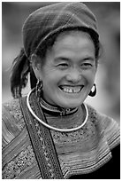 Flower Hmong woman in everyday ethnic dress,  Bac Ha. Vietnam ( black and white)