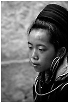 Black Hmong girl in everyday ethnic dress, Sapa. Vietnam (black and white)