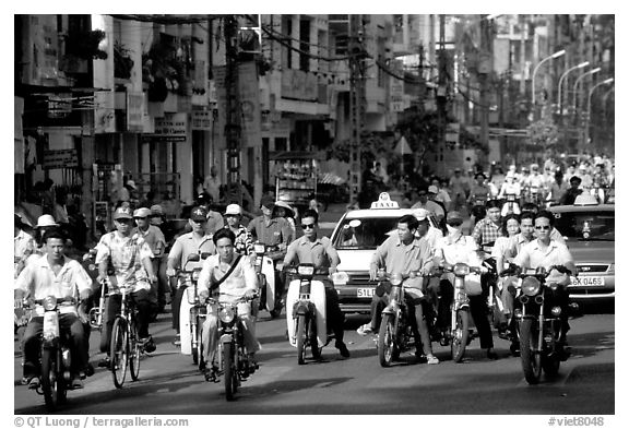 Traffic: there are 2 million motorcycles and the number of cars is growing everyday. Ho Chi Minh City, Vietnam (black and white)