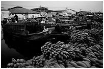 Boats bring loads of produce from the Delta on the Saigon arroyo. Cholon, Ho Chi Minh City, Vietnam ( black and white)