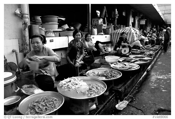 Fish vendors. Ho Chi Minh City, Vietnam (black and white)