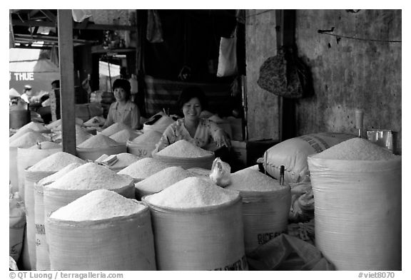 Rice is the basis of Vietnamese food, and there is a lot to choose from, district 6. Cholon, Ho Chi Minh City, Vietnam (black and white)