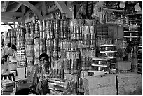 Incense wholesale, Binh Tay Market, district 6. Cholon, Ho Chi Minh City, Vietnam (black and white)