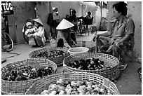 Live chicks for sale, District 6. Cholon, Ho Chi Minh City, Vietnam ( black and white)