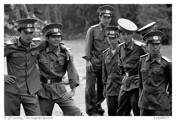 Soldiers performing a long  military service. Mekong Delta, Vietnam (black and white)