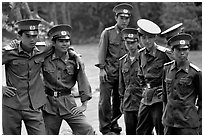 Soldiers performing a long  military service. Mekong Delta, Vietnam ( black and white)