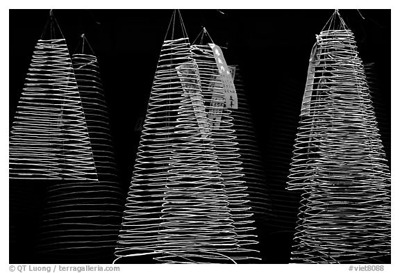 Incense coils  at a Chinese temple in Cho Lon, designed to burn for days. Cholon, District 5, Ho Chi Minh City, Vietnam (black and white)