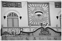 The Cao Dai religion most noteworthy symbol is the all seeing  eye. Tay Ninh, Vietnam ( black and white)