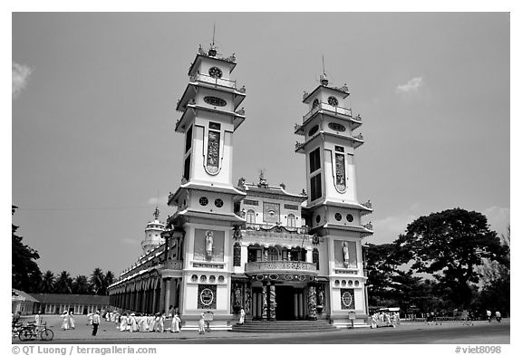 The great Cao Dai temple, with oriental and occidental features. Tay Ninh, Vietnam (black and white)