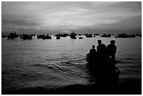 Fishing boat fleet at sunset. Vung Tau, Vietnam (black and white)
