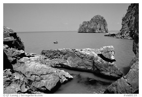 Limestone towers. Hong Chong Peninsula, Vietnam (black and white)
