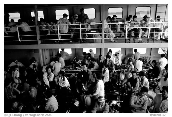Inside a ferry on the Mekong river. My Tho, Vietnam (black and white)