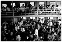 Inside a ferry on the Mekong river, My Tho. Mekong Delta, Vietnam (black and white)