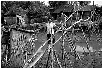 Bamboo bridge near Long Xuyen. Mekong Delta, Vietnam (black and white)